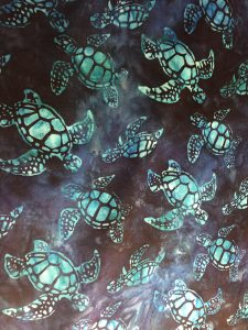 Turquoise Turtles on Navy & Black Background